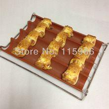 30 X 40 CM perforado antiadherente bandeja de baguette de silicona de silicona forma de pan francés pan oblongo hogar utensilio herramienta hornear horno(China (Mainland))