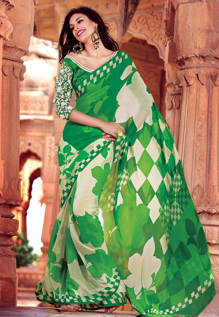 Georgette #Saree with Double Blouse @ $222.01
