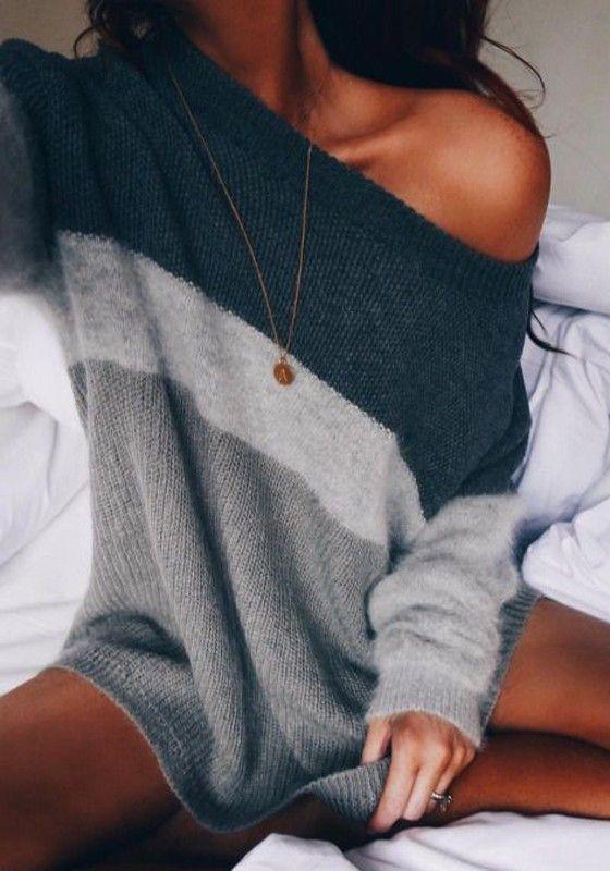 Schwarz Grau Strickpullover Schulterfreie Strickpulli Oberteile Knit Sweater Sexy Damen Mode
