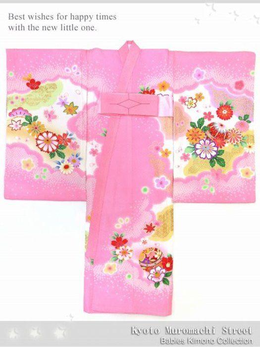お宮参り着物正絹女の子のお祝い着(初着・産着)日本製「ピンク、鈴と菊」IGU795