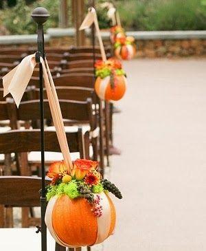 Decorating with Mini Pumpkins - aisle decorations #wedding #decor #fall #pumpkin