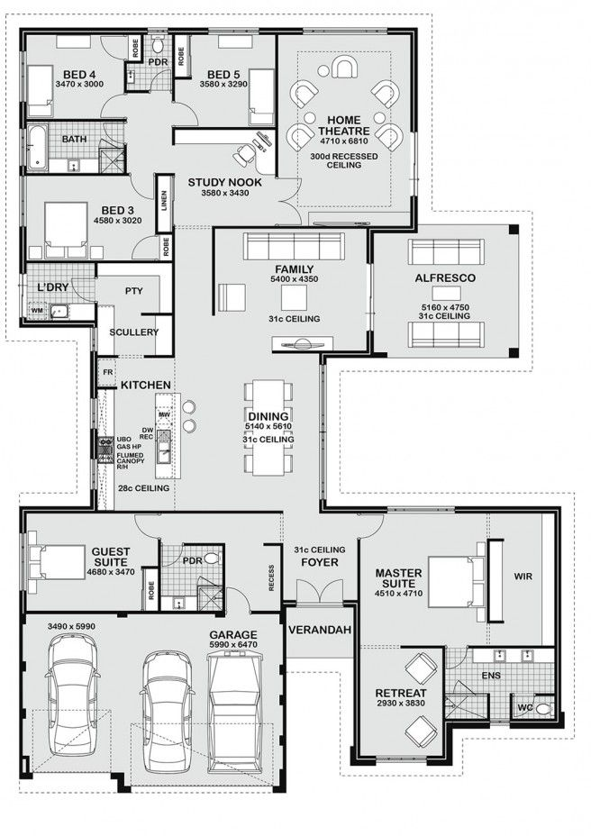 1 storey floor plan - guest bed as study