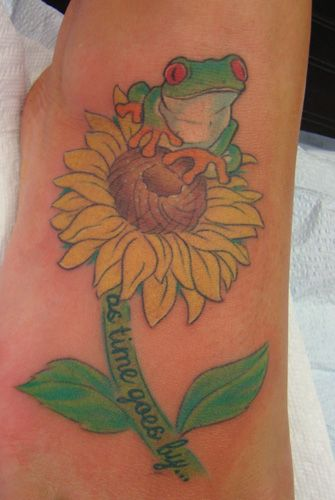 Looking for unique Color tattoos Tattoos? Tree Frog on Sunflower ...