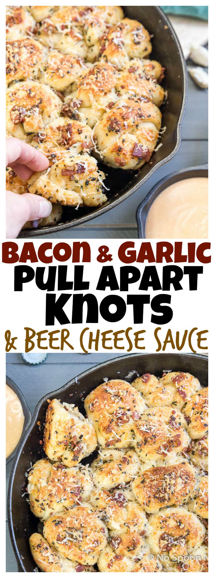 Easy Bacon & Garlic Pull Apart Knots with Beer Cheese Sauce
