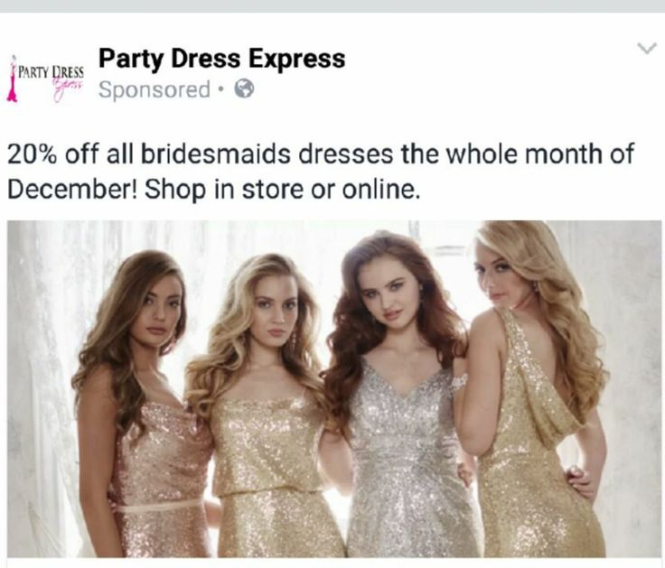 Take advantage of our 20% off Bridesmaids Bash extended through December 31st. Excludes Bari Jay Sequin Dresses - Available at Party Dress Express - 657 Quarry Street - Fall River - MA 02723 http://partydressexpress.com/sub.php?CatId=76424#subtitle