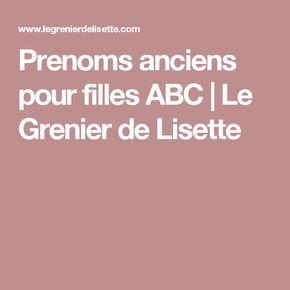 Prenoms anciens pour filles ABC | Le Grenier de Lisette