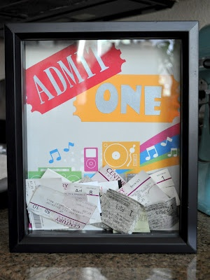Cute display for ticket stubs. Great for a teen's room.