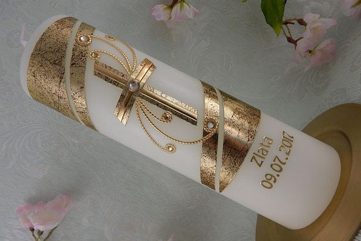 Taufkerzen -  Taufkerze Kreuz gold - ein Designerstück von Lenz-Kerzen bei DaWanda
