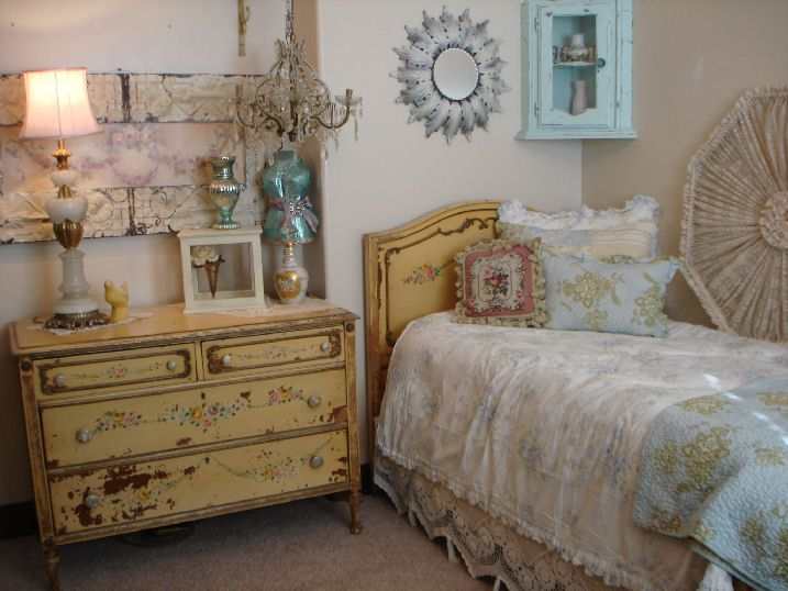 French Handpainted Tole Antique DRESSER & BED SET-