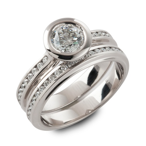 Diamond engagement ring and matching wedding band, 18k grey gold. Designed and made by Ian Davidson: Diamond Engagement Rings, Grey Gold, Ian Davidson, Flats Stones, 18K Grey, Stones Rings, Custom Engagement, Matching Weddings Band, Diamonds Engagement Rings