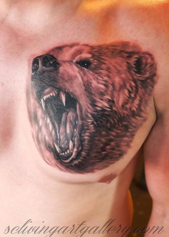 Realistic bear tattoo by Monte Livingston at Living Art Gallery Tattoo Lounge, San Clemente.  www.sclivingartgallery.com