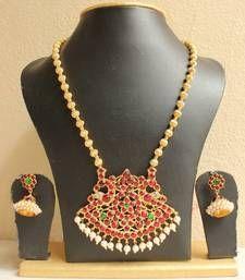 Buy GORGEOUS HUGE TEMPLE PENDANT GOLDEN BALL NECKLACE SET necklace-set online