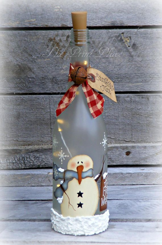 Lighted Snowman Wine Bottle Snowman Decor Christmas