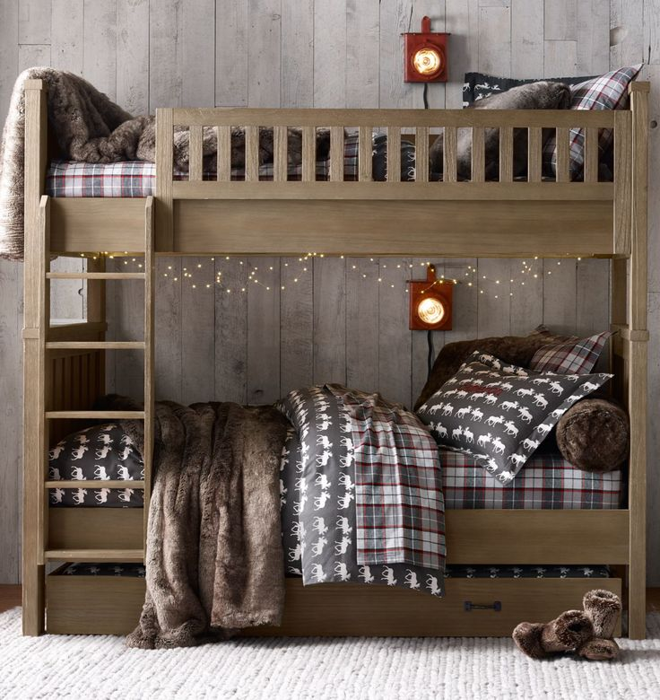 classic bunk bed. cozy flannel bedding. the perfect wintry retreat. #rhbabyandchild