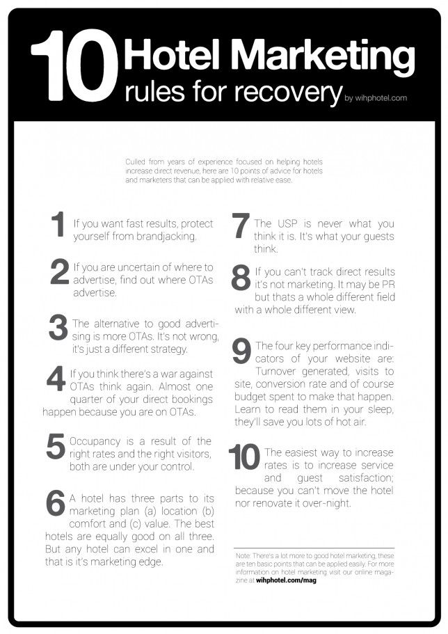 """10 Hotel Marketing rules for recovery and direct bookings"" Oct-2012 from www.wihphotel.com. #hotelmarketing #infographic"
