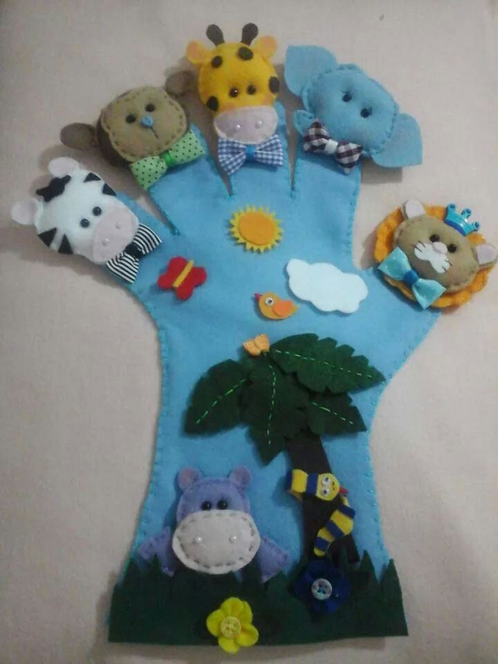 .hand glove puppets ideas five different animals one on each finger felt sewing craft