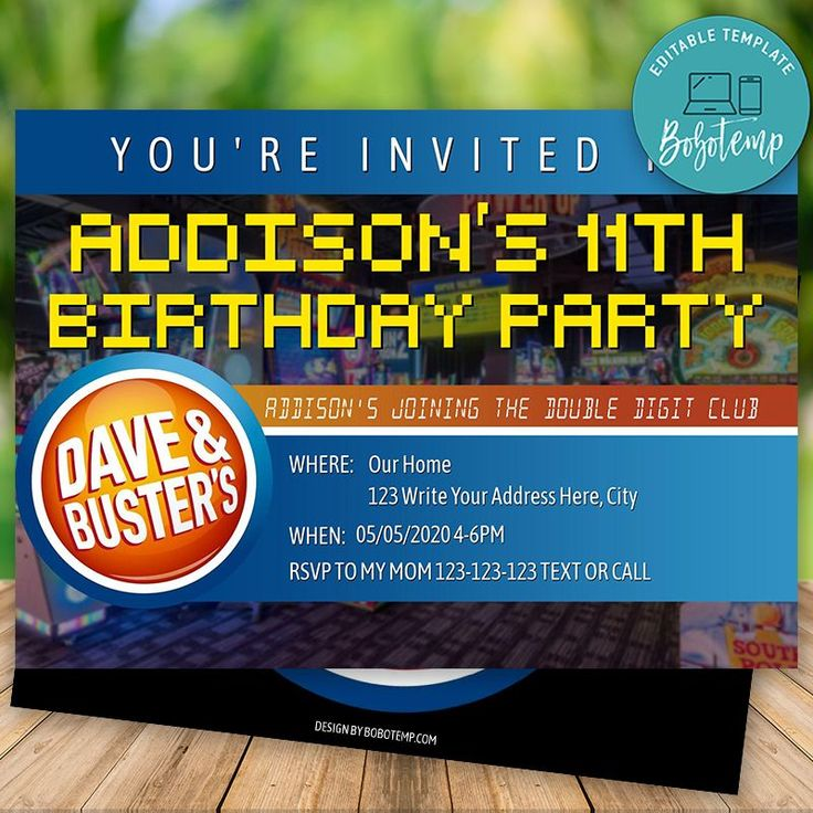 Editable Dave & Busters Party Birthday Invitation DIY in