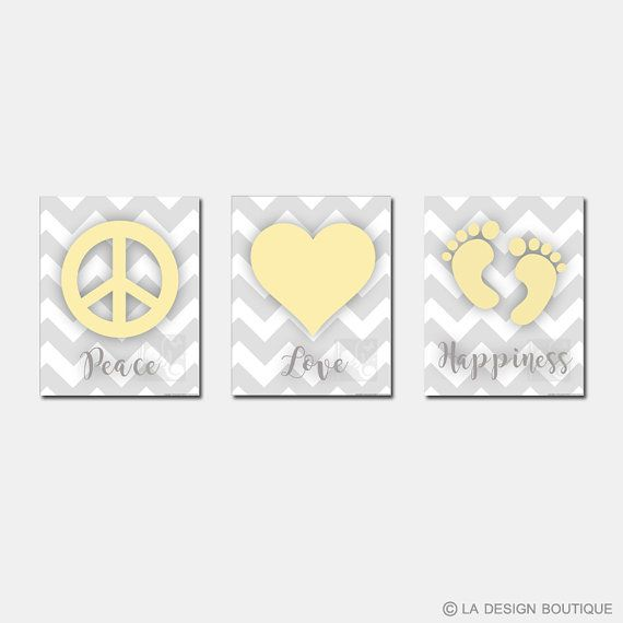 Perfect Gender Neutral Art for Baby Room Nursery Art Typography Set of 3 Peace Love by LaDesignBoutiqueShop