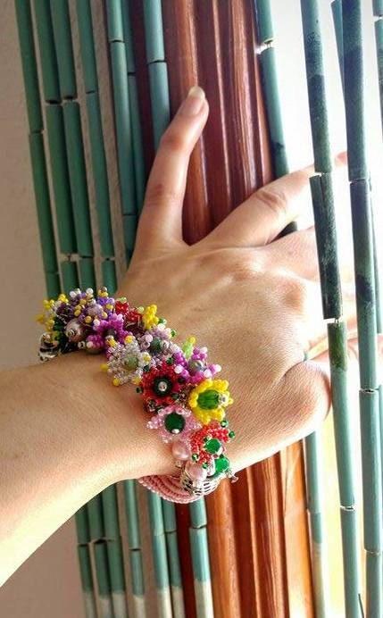 SUMMER SALE Beaded crochet Bracelet Colour by SERMINCEJEWELRY