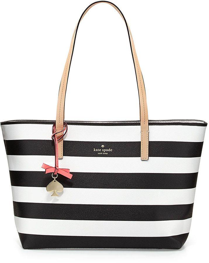 Monochrome Stripe Bag Kate Spade New York Hawthorne Lane Ryan Striped Tote Black Cream Ebony And Ivory Pinterest Bags