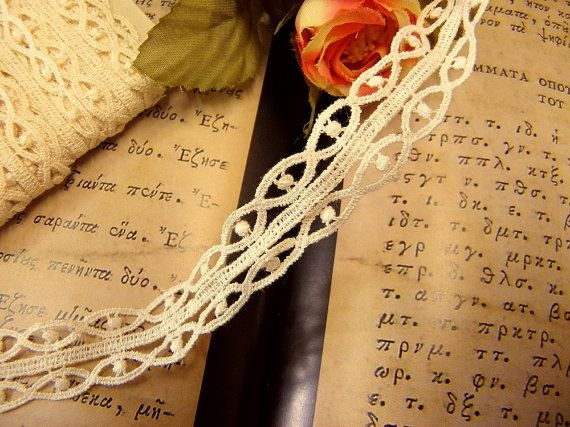 Veil ecru lace trim bridal Vienna Cotton romantic by Eleptolis