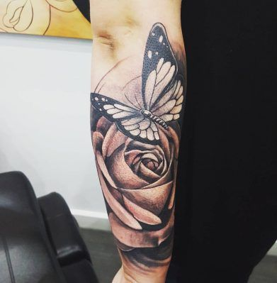 Rose Flower and Butterfly Tattoo