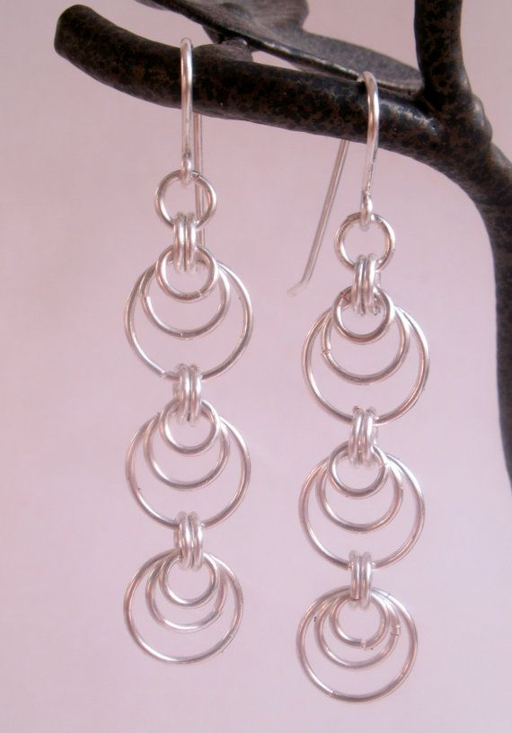 Three drop chainmaille Earrings Silver by EmmielousHandmades, £4.00