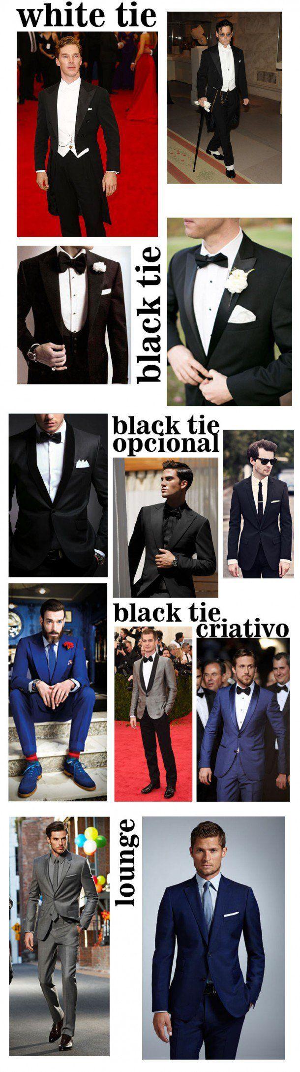 Dress code - White Tie, Back Tie, Black Tie Opicional, Black Tie Criativo, Lounge