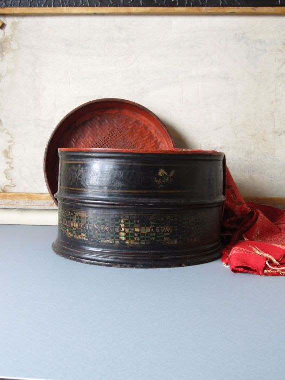 Vintage black storage box Asian decor box boho decor small