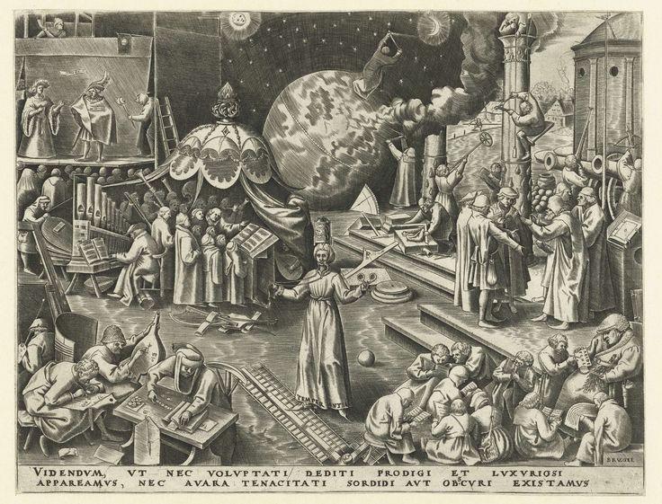 Philips Galle | Matigheid, Philips Galle, Hieronymus Cock, in or after 1560 - 1562 | De vrouwelijke personificatie van de Matigheid (Temperantia) staande met het bit van een paardentoom in de mond, een klok op het hoofd en een bril in de hand. Zij wordt omringd door allerlei scènes waarin deze deugd wordt geïllustreerd. Linksboven theaterspel en een musicerende mensen. Linksonder tellen mensen geld. Rechtsonder leerlingen en hun leermeester. Middenachter een astronoom met een meetinstrument…