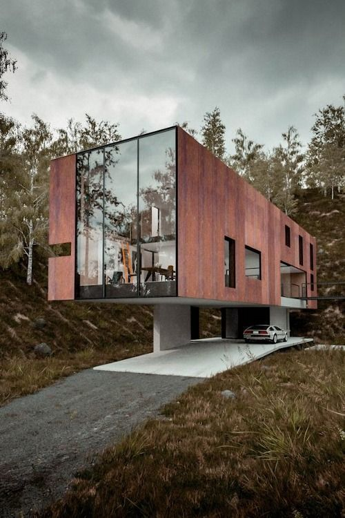 Contemporary | cantilever | floating | residential | Architecture | rustic | steel | cladding | facade | glass | proportion #residentialarchitecture