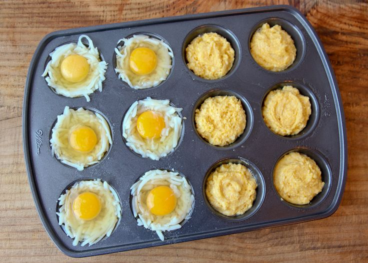 6 eggs in basket of shredded hash browns and 1 box prepared jiffy cornbread mix all baked in one muffin tin at 400 for 15 to 20 min.