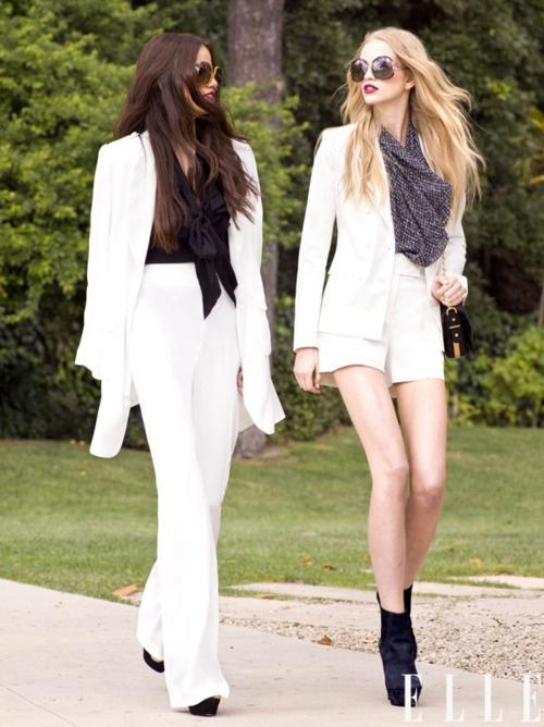 white suit glam.  elle magazine.