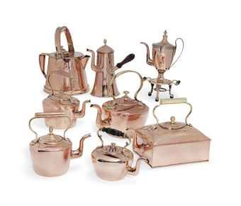 A COLLECTION OF ENGLISH COPPER KETTLES AND COFFEE POTS  LATE 18TH 19TH CENTURY  Price realised  GBP 3,750