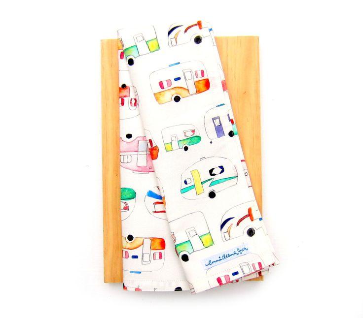 Caravan Tea Towel Unique Print Kitchen Towel Retro Vintage Style by EmmaAllardSmith on Etsy