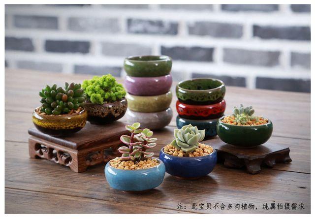 Bonsai Keramik-blumentopf Sukkulenten Topf Schreibtisch Dekor Glasierte Keramische Topf