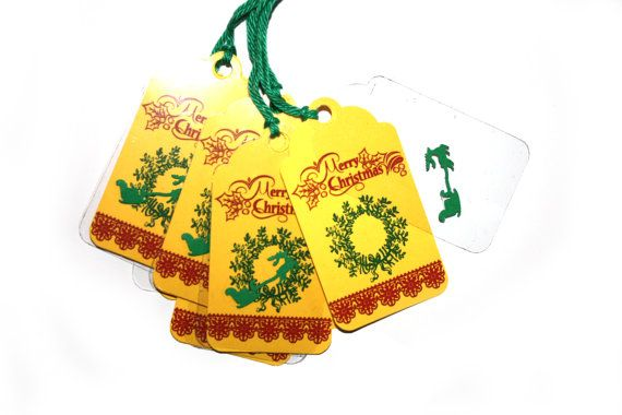 10 Double Christmas Tags  Christmas wreath Tag  Holiday by 6Crafts