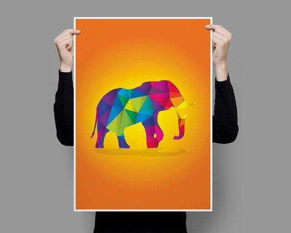 Elephant Geometric Animals Collection Art Print by OscarRoxie
