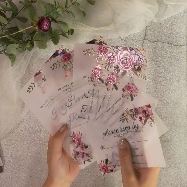 Floral UV printing vellum paper wedding invitation inspiration