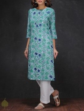 Sea Green-Blue Block-printed Cotton Kurta by Jaypore