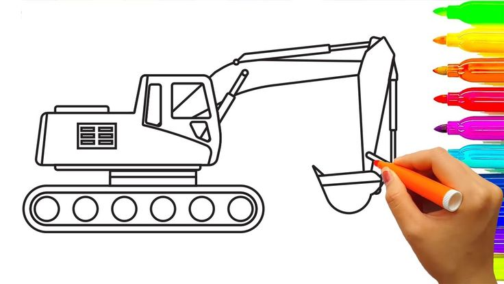 How to Draw Excavator Truck Coloring Pages, Learn Colors for Kids, Fun C...