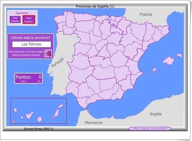 """""""Provincias de España"""" (Juego de Geografía de Primaria y Secundaria)"""
