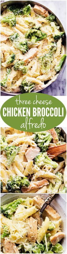 Three Cheese Chicken Broccoli Alfredo - The creamy three cheese homemade alfredo is out of this world!!