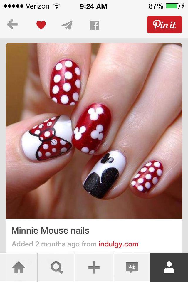 Mejores 8 imágenes de Minnie & Mickey Mouse nails! en Pinterest ...