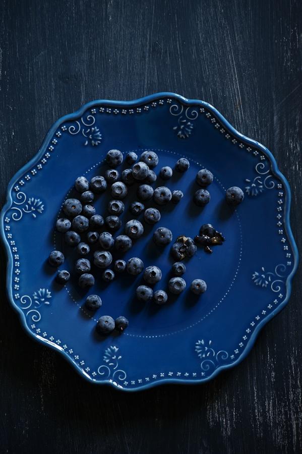 A pretty plate full of berries.