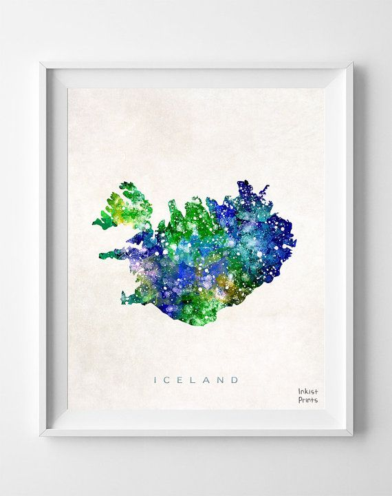 Iceland Map, Print, Watercolor, Reykjavik, Nordic, Europe, Home Town, Poster, Icelandic, Nursery, Painting, Bedroom, World Map [NO 460]