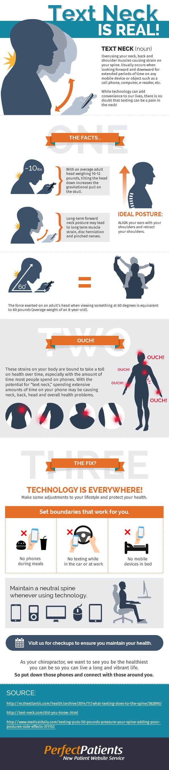 Are you currently reading this while hunched over your phone? If so, here's a very scary wake up call. Text neck is real. Read this Infographic and learn all about text neck. And remember, you only get one neck. TREAT IT WELL. Source:http://www.healinghandsaurora.com/