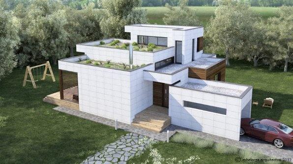 Kuusamo Log Houses, fabrica viviendas bioclimáticas energéticamente eficientes hechas de madera. En la imagen el modelo MH155.