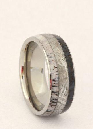 wedding rings made of dinosaur bone meteorite and deer antler - Mens Unique Wedding Rings