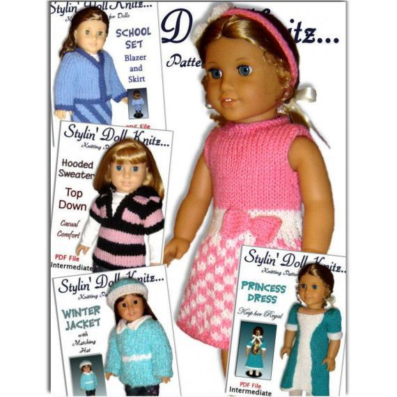 Knitting Patterns for American Girl and 18 inch dolls. Knit Clothes Instant Download 08